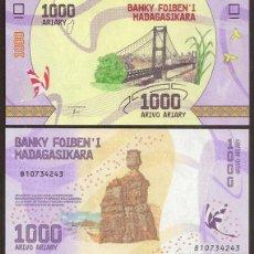 Billetes extranjeros: MADAGASCAR. BONITO 1000 ARIARY 2017. S/C. FAUNA. PUENTE.. Lote 118596994