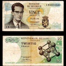 Billetes extranjeros: BELGICA 20 FRANCOS 1964 PIK 138 MBC-. Lote 99640691