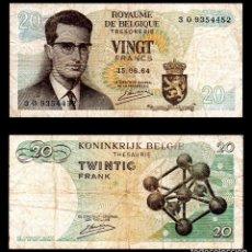 Billetes extranjeros: BELGICA 20 FRANCOS 1964 PIK 138 MBC-. Lote 99640967