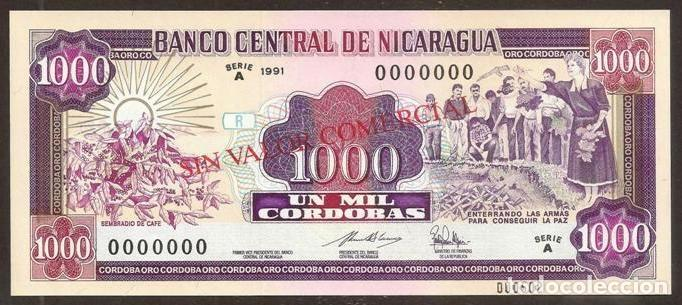 NICARAGUA. 1000 CORDOBAS 1991. PICK 178B S. SPECIMEN. S/C. ESCASO. (Numismática - Notafilia - Billetes Internacionales)