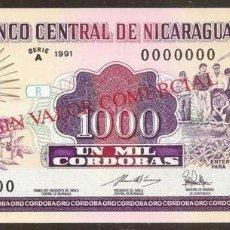 Billetes extranjeros: NICARAGUA. 1000 CORDOBAS 1991. PICK 178B S. SPECIMEN. S/C. ESCASO.. Lote 99978503