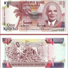 Billetes extranjeros: MALAWI - 1 KWACHA - 1ST. MAY 1992 - S/C. Lote 100170171