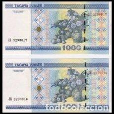 Billetes extranjeros: BIELORUSIA 1000 RUBLOS 2000. PAREJA CORRELATIVA. SC. Lote 160879364
