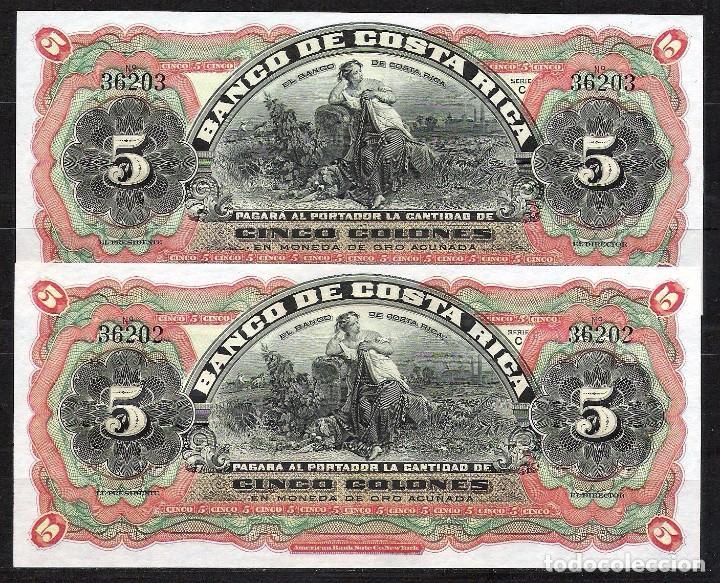 Costa Rica Pareja Correlativa 5 Colones Nd 19 Buy Old