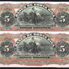 Billetes extranjeros: COSTA RICA PAREJA CORRELATIVA 5 COLONES (ND) 1901/1908 S/C. Lote 100718011
