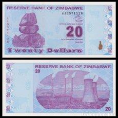 Billetes extranjeros: ZIMBABWE 20 $ DOLAR 2009. PICK 95. SC . Lote 158212842