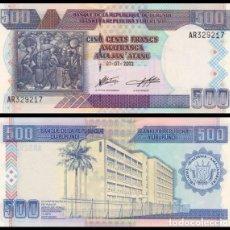 Billetes extranjeros: BURUNDI 500 FRANCS 2003. PICK 38C. SC. Lote 161081198