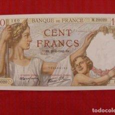 Billetes extranjeros: FRANCIA, BILLETE DE 100 FRANCOS, PLANCHA S/C. 1942. Lote 102592203