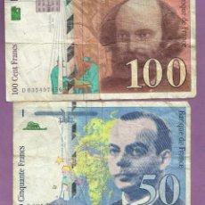 Billetes extranjeros: FRANCIA: 2 BILLETES DE 50 Y 100 FRANCS. Lote 102833511