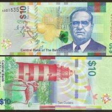 Billetes extranjeros: BAHAMAS. BONITO 10 DOLARES SERIES 2016. S/C. FARO, FAUNA, FLAMENCOS.. Lote 237406370