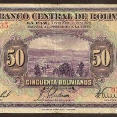 Billetes extranjeros: BOLIVIA. 50 BOLIVIANOS LEY 1928. PICK 124.. Lote 103714055