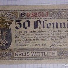 Billetes extranjeros: ALEMANIA NOTGELD/WITTLICH. 50 PFENNIG 1919.. Lote 103820203