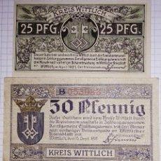Billetes extranjeros: ALEMANIA NOTGELD/WITTLICH. 25 PFENNIG (1921), 50 PFENNIG (1919). SC.. Lote 103964619