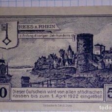Billetes extranjeros: ALEMANIA NOTGELD/REES. 50 PFENNIG 1920. SC.. Lote 103966943