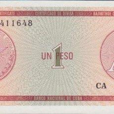Notas Internacionais: BILLETES - CUBA - 1 PESO (CERTIFICADO DE DIVISA) SERIE CA 411613 - PICK-NO (SC). Lote 207279287