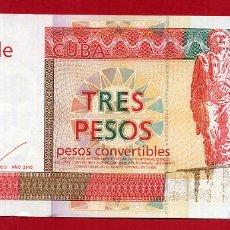 Billetes extranjeros: 1 BILLETE 3 PESOS 2016 CONVERTIBLES CUC CUBA SIN CIRCULAR ORIGINAL. Lote 270895858