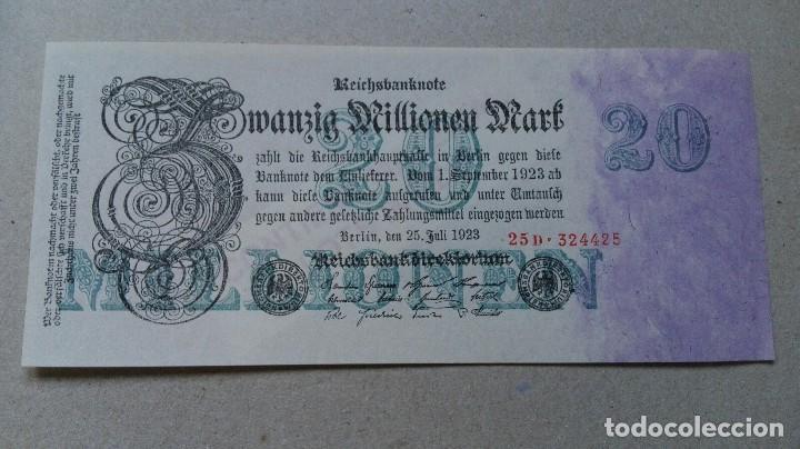ALEMANIA 20 MILLONES MARCOS 1923 (SC) (Numismática - Notafilia - Billetes Extranjeros)