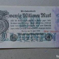 Billetes extranjeros: ALEMANIA 20 MILLONES MARCOS 1923 (SC). Lote 105085663