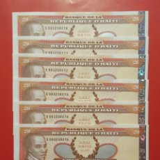 Billetes extranjeros: BILLETE HAITÍ 20 GOURDES 2001- 6 CORRELATIVOS SC. Lote 105396798