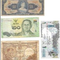 Billetes extranjeros: LOTE : BILLETE BRASIL 50 CRUZEIROS, BELGICA 20 FRANCS. TAILANDIA 20 BATH, QATAR 1 ONE RIYAL. Lote 106028643