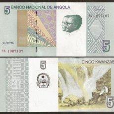 Billetes extranjeros: ANGOLA. 5 KWANZAS 2012. S/C. CASCADA.. Lote 195149811