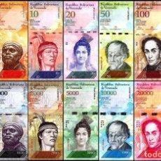 Billetes extranjeros: VENEZUELA 2-100000 BOLIVARES X 13 PIECES (PCS) FULL SET, 2013-2017, P-NEW, UNC COLECCION COMPLETA. Lote 108404276