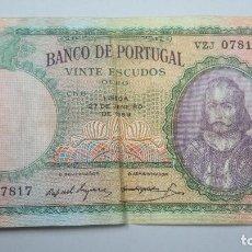 Billetes extranjeros: 20. VINTE ESCUDOS. PORTUGAL. 1959. Lote 107690403