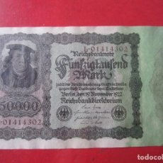 Billetes extranjeros: ALEMANIA. BILLETE DE 50000 MARCOS. 1922. Lote 107821015