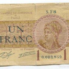 Billetes extranjeros: FRANCIA. BILLETE DE 1 FRANCO, 1922. CÁMARA DE COMERCIO DE PARIS. Lote 108808455