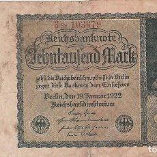 Billetes extranjeros: ALEMANIA- 10000 MARCOS-1922. Lote 108842511