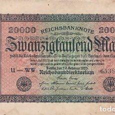 Billetes extranjeros: ALEMANIA- 20000 MARCOS-1923. Lote 108842659
