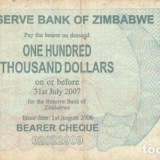 Billetes extranjeros: ZIMBABWE- 100000 DOLARES- 2007. Lote 109118347