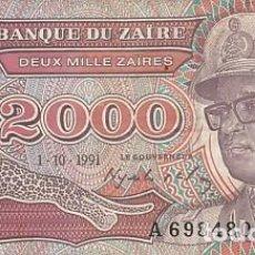 Billetes extranjeros: ZAIRE- 2000 ZAIRES- 1991. Lote 109181931