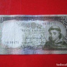 Billetes extranjeros: PORTUGAL. BILLETE DE 20 ESCUDOS. 1964. Lote 109243399