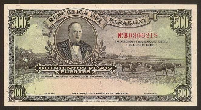 PARAGUAY. BONITO 500 PESOS L.1923. P 169 R. ESCASO. (Numismática - Notafilia - Billetes Extranjeros)
