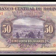 Billetes extranjeros: BOLIVIA 50 BOLIVIANOS 1928. PICK 124A(1). Lote 109493967