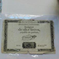 Billetes extranjeros: BILLETE FRANCIA , DOMAINES NATIONAUX ASSIGNAT DE DIX LIVRES 1792 , ORIGINAL ,. Lote 109524831