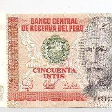 Billetes extranjeros: BILLETE BANCO CENTRAL DE RESERVA DEL PERÚ 26-JUNIO-1987 CINCUENTA INTIS. SERIE A 6816315 L. S/C. Lote 110061631