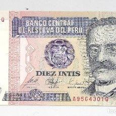 Billetes extranjeros: BILLETE BANCO CENTRAL DE RESERVA DEL PERÚ 26-JUNIO-1987 DIEZ INTIS. SERIE A 9564301 Q. S/C. Lote 110061787