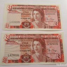 Billetes extranjeros: GIBRALTAR * 1 LIBRA SERIE 1988 L * PLANCHA * PAREJA CORRELATIVA. Lote 191918103