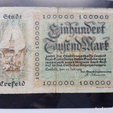 Billetes extranjeros: ALEMANIA 100000 MARCOS, CREFELD 15-7-1923. Lote 110708571