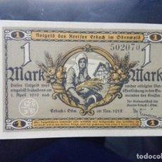 Billetes extranjeros: ALEMANIA NOTGELD 1 MARCO, ERBALCH 1-4-1919 (SC) . Lote 110716223