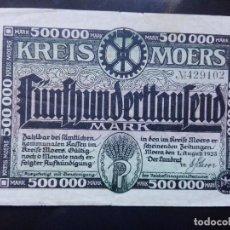 Billetes extranjeros: ALEMANIA 500000 MARCOS, MOERS 1-8-1923. Lote 110720827