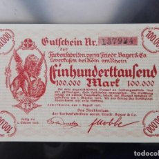 Billetes extranjeros: ALEMANIA 100000 MARCOS LEVERKUSEN, 1-8-1923 (SC). Lote 110721647