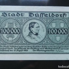 Billetes extranjeros: ALEMANIA 100000 MARCOS DUSSELDORF, 15-8-1923 . Lote 110721819
