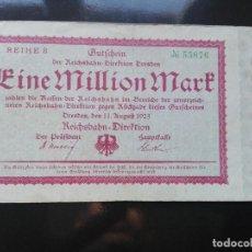Billetes extranjeros: ALEMANIA, 1 MILLÓN MARCOS, DRESDE 11-8-1923. Lote 110721935