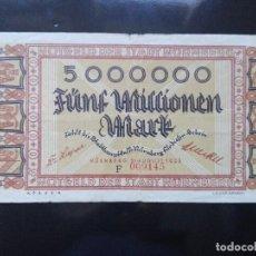 Billetes extranjeros: ALEMANIA 5 MILLONES MARCOS, NUNBERG 31-8-1923. Lote 110722063