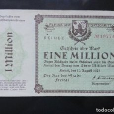 Billetes extranjeros: ALEMANIA, 1 MILLÓN MARCOS FREITAL 10-8-1923. Lote 110722395