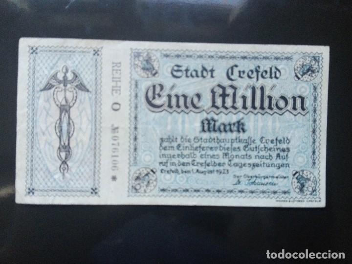 ALEMANIA 1 MILLÓN MARCOS, CREFELD 1-8-1923 (Numismática - Notafilia - Billetes Extranjeros)