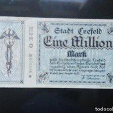 Billetes extranjeros: ALEMANIA 1 MILLÓN MARCOS, CREFELD 1-8-1923. Lote 110722579